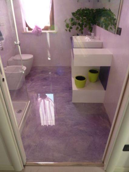 Bagno in resina Lilla vetrificato - Resine Design
